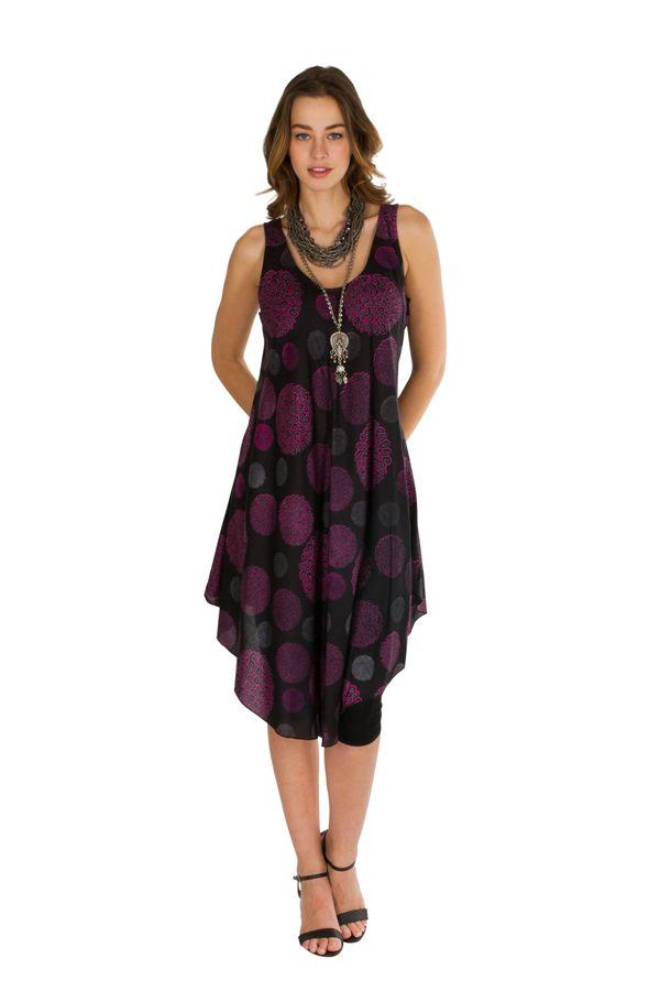 Robe mi-longue fluide avec imprimés vintage violet Adélie 296321