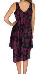 Robe mi-longue fluide avec imprimés vintage violet Adélie 296322