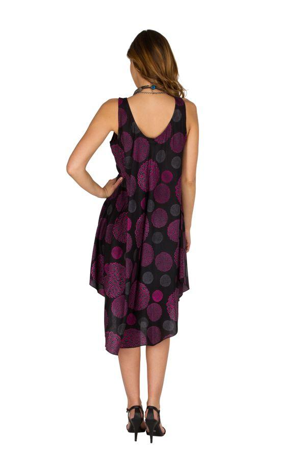 Robe mi-longue fluide avec imprimés vintage violet Adélie 296323