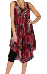 Robe mi-longue fluide de style seventies rouge Oxytane 295890