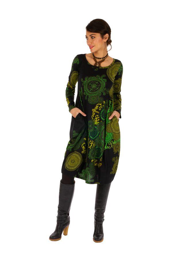 Robe mi-longue forme boule à poches et très colorée Kango 312719