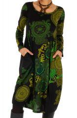 Robe mi-longue forme boule à poches et très colorée Kango 312721
