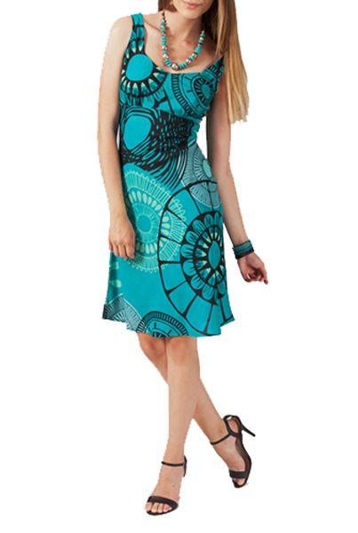 Robe mi-longue imprimé bleu Dorothy 267554