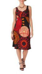 Robe mi-longue imprimé noire et rouge Dorothy 267552