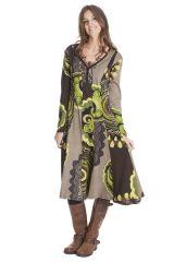 Robe mi longue imprimée à manches longues Vaziki 285471