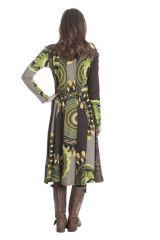 Robe mi longue imprimée à manches longues Vaziki 285472