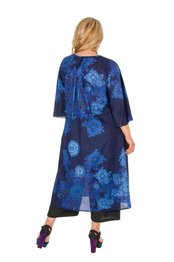 Robe mi-longue imprimée bleu marine grande taille Olga