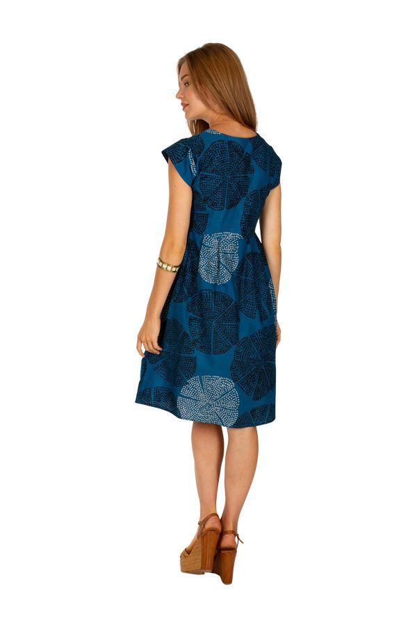 Robe mi-longue imprimée bleue marine à pois Manuela