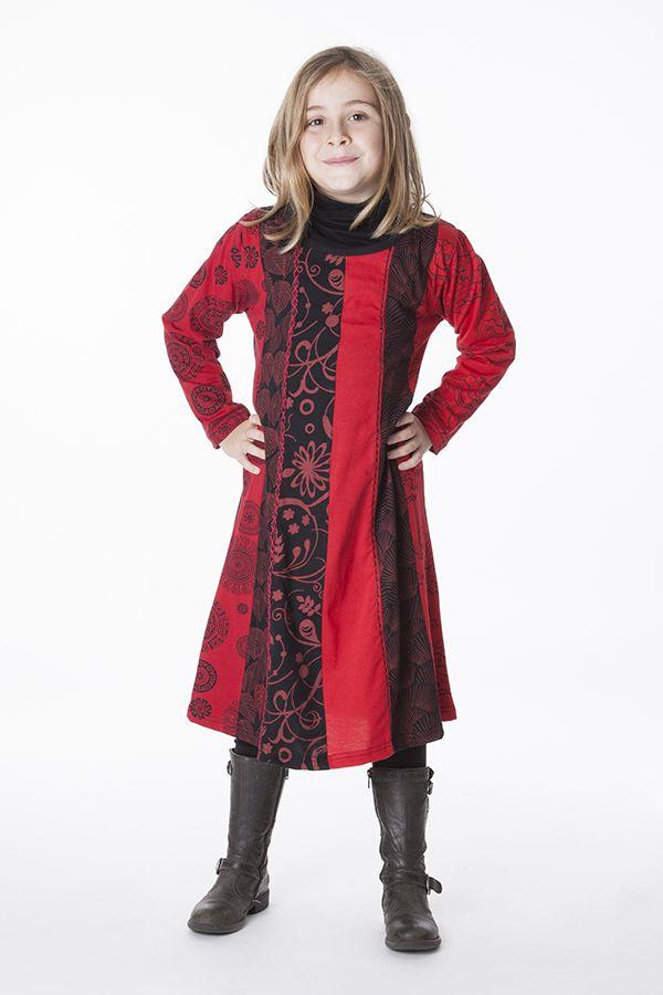 Robe mi-longue imprimée pour enfant noire et rouge 286363