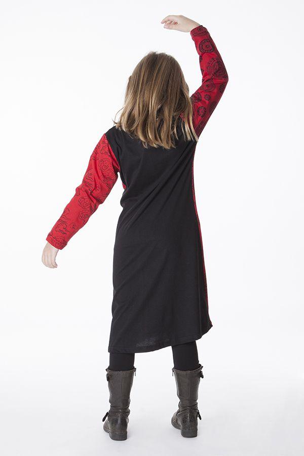 Robe mi-longue imprimée pour enfant noire et rouge 286364