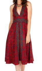 Robe mi-longue imprimée rouge avec un décolleté plongeant Ling 306517