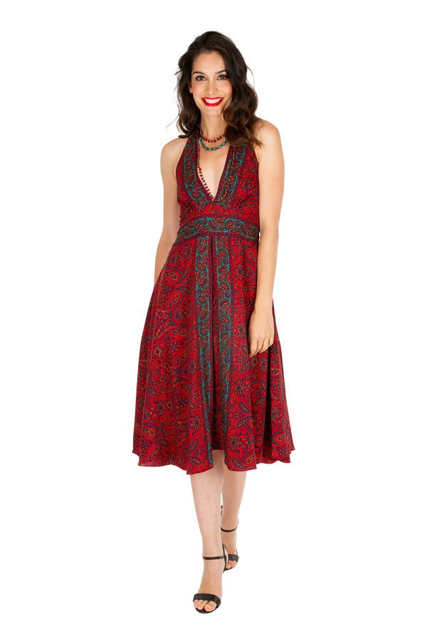 Robe mi-longue imprimée rouge avec un décolleté plongeant Ling 306518
