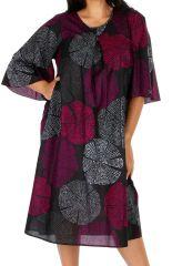 Robe mi-longue imprimée sur fond uni noir grande taille Alex 309610