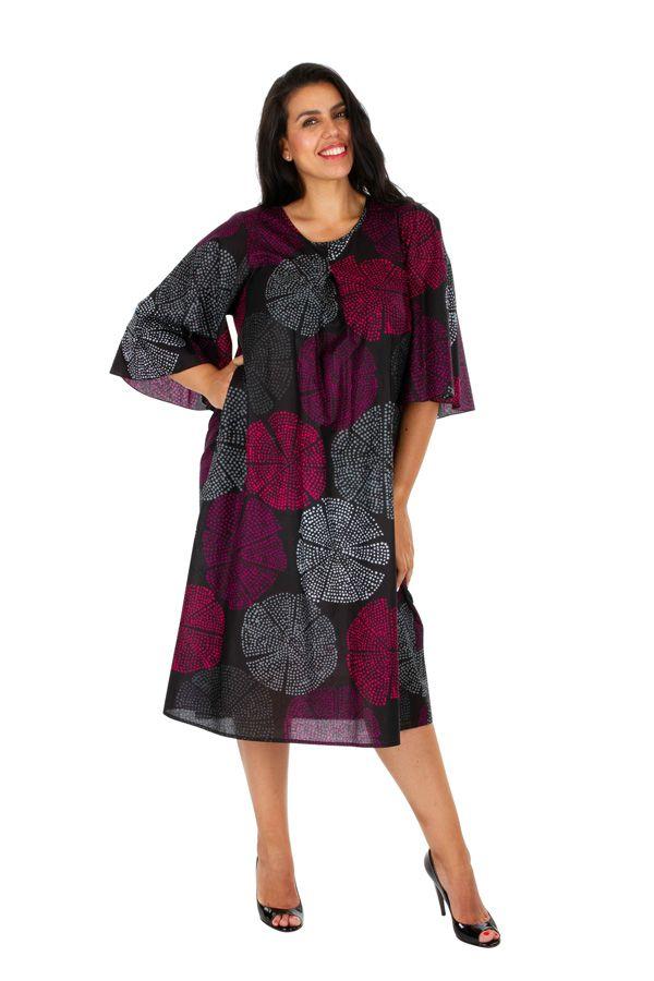 Robe mi-longue imprimée sur fond uni noir grande taille Alex 309611