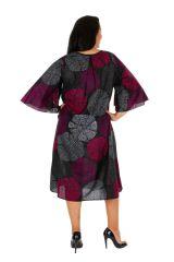 Robe mi-longue imprimée sur fond uni noir grande taille Alex 309612