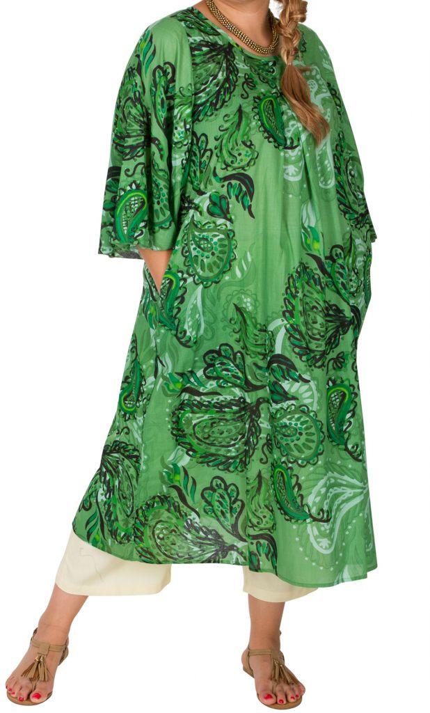 Robe mi-longue imprimée verte femme grande taille Oana 309601