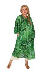 Robe mi-longue imprimée verte femme grande taille Oana 309602
