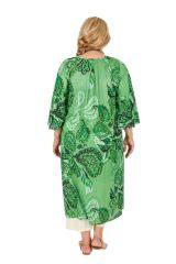 Robe mi-longue imprimée verte femme grande taille Oana 309603