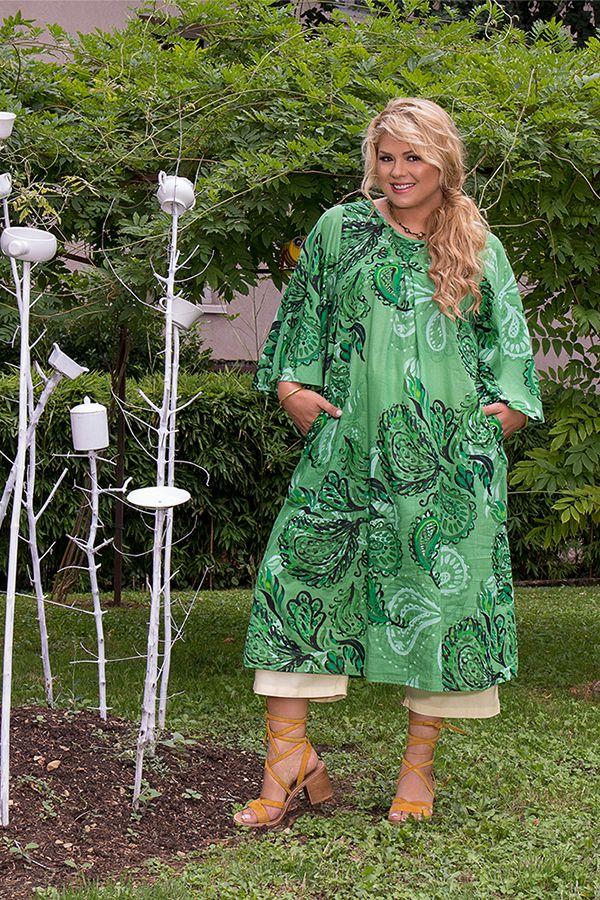 Robe mi-longue imprimée verte femme grande taille Oana 309604