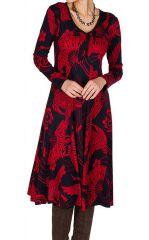 Robe mi-longue jersey de coton avec imprimé de style asiatique Poire 301904