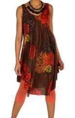 Robe mi-longue légère et ethnique avec col rond Daniela 295960