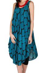 Robe mi-longue look rétro et originale avec imprimés bleus Paty 296266