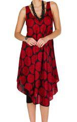 Robe mi-longue look rétro et originale avec imprimés rouge Paty 296259