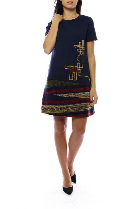 Robe mi-longue marine avec un effet jupe original Denise 302687