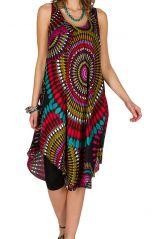 Robe mi-longue mode seventies avec imprimé multicolore Annicette 295898