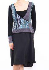 Robe mi-longue noire avec une touche d'originalité Ezelle bleu 304495