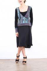 Robe mi-longue noire avec une touche d'originalité Ezelle bleu 304496