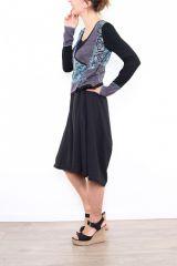 Robe mi-longue noire avec une touche d'originalité Ezelle bleu 304497