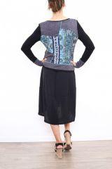 Robe mi-longue noire avec une touche d'originalité Ezelle bleu 304498
