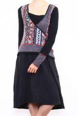 Robe mi-longue noire avec une touche d'originalité Ezelle rouge 304487