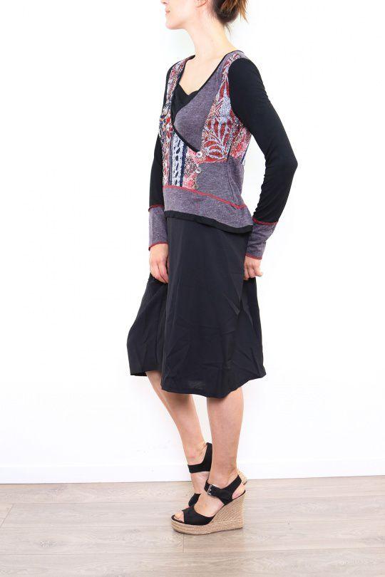 Robe mi-longue noire avec une touche d'originalité Ezelle rouge 304489