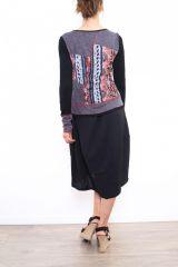 Robe mi-longue noire avec une touche d'originalité Ezelle rouge 304490
