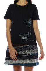 Robe mi-longue noire et bleue avec un effet jupe original Denise 302696