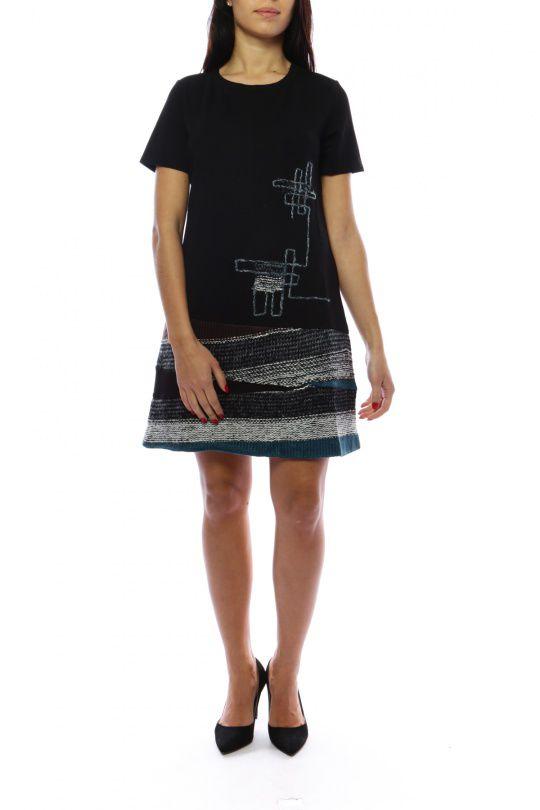Robe mi-longue noire et bleue avec un effet jupe original Denise 302697