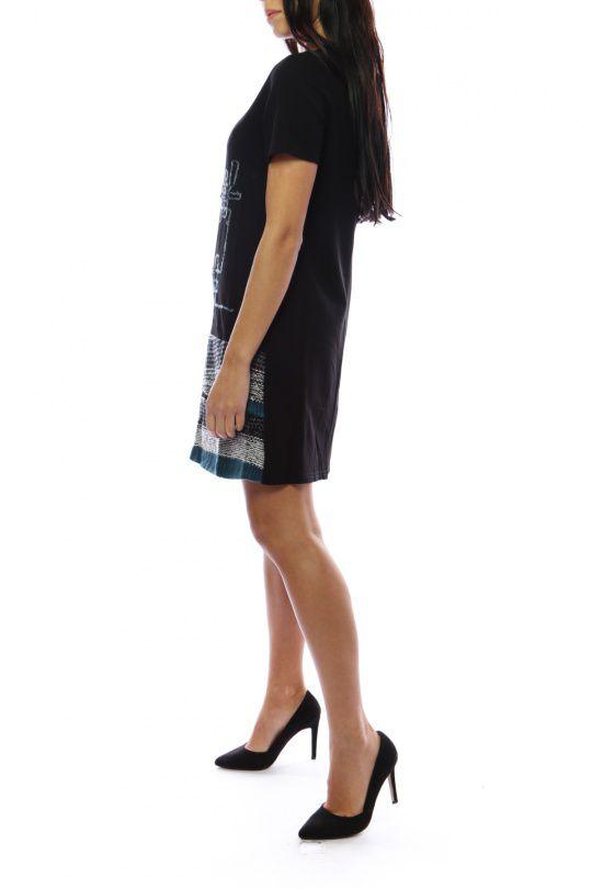 Robe mi-longue noire et bleue avec un effet jupe original Denise 302698