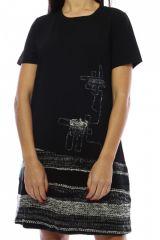 Robe mi-longue noire et grise avec un effet jupe original Denise 302691