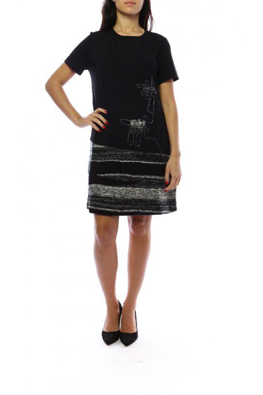 Robe mi-longue noire et grise avec un effet jupe original Denise 302692
