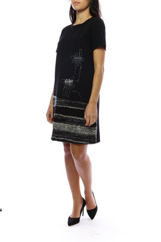 Robe mi-longue noire et grise avec un effet jupe original Denise 302693
