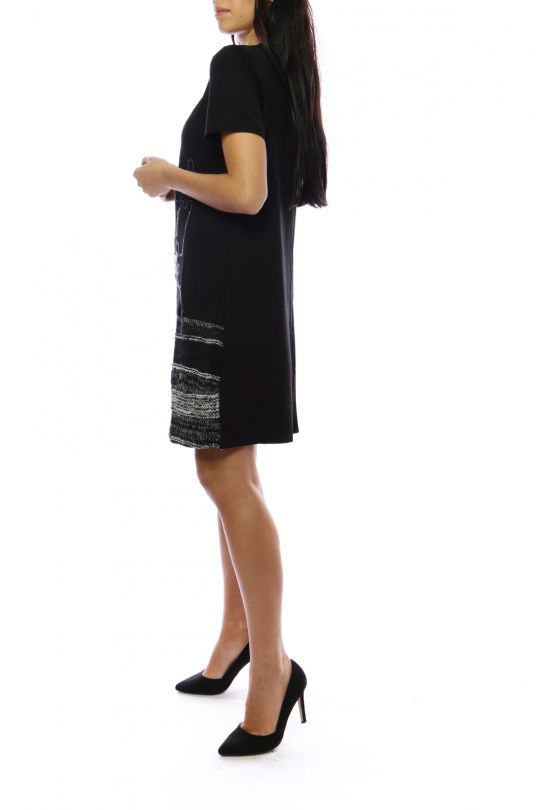 Robe mi-longue noire et grise avec un effet jupe original Denise 302694