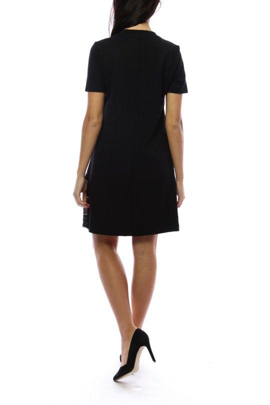 Robe mi-longue noire et grise avec un effet jupe original Denise