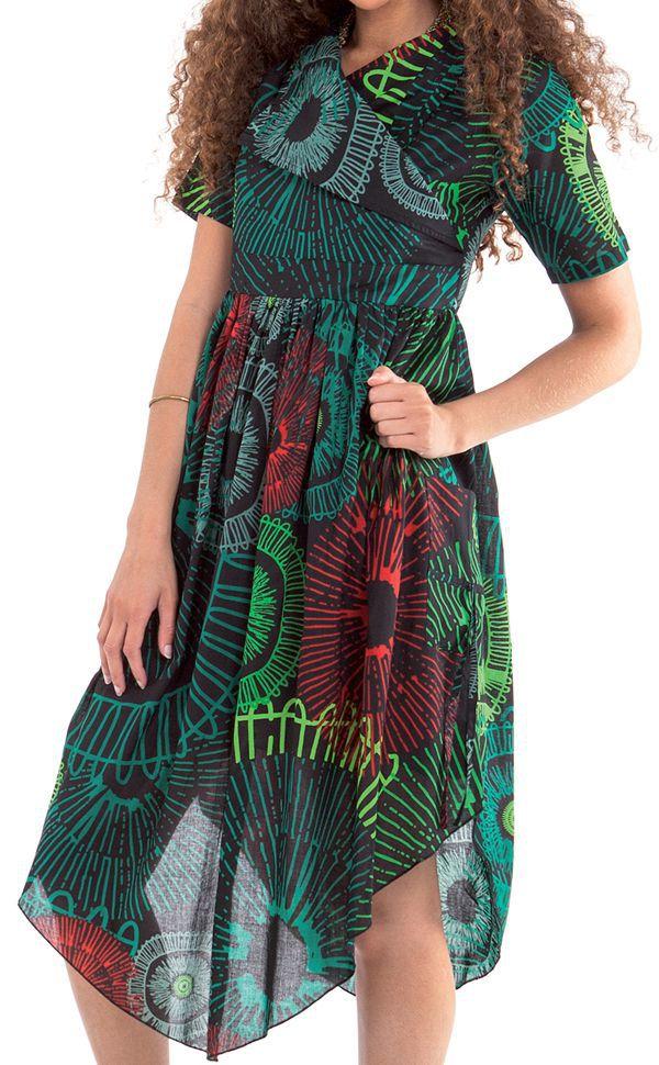 Robe mi-longue Noire et Verte Originale et Asymétrique Camélia 307732