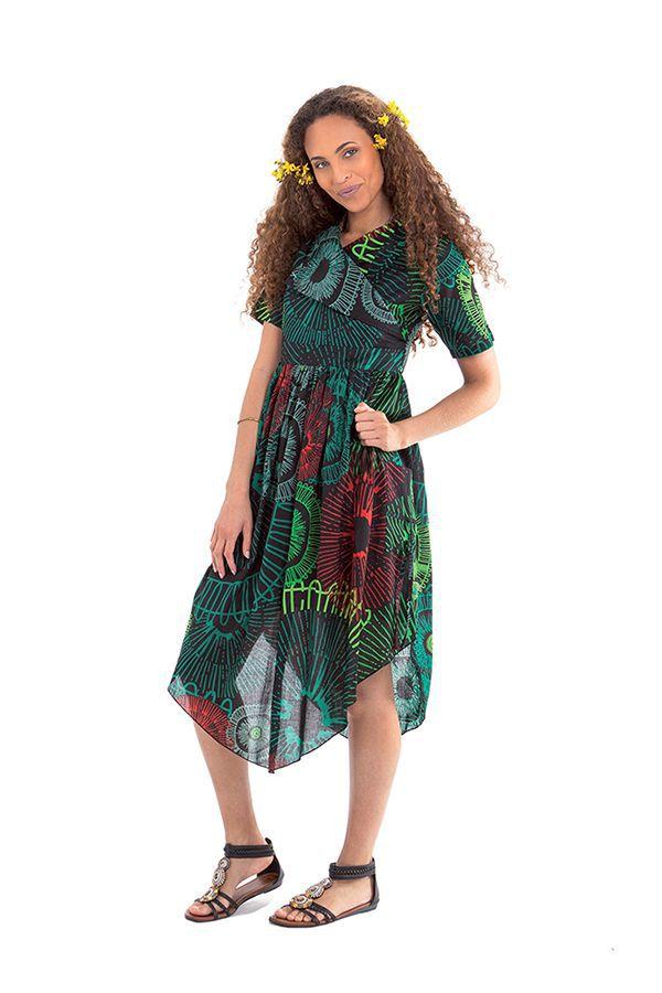 Robe mi-longue Noire et Verte Originale et Asymétrique Camélia 307733