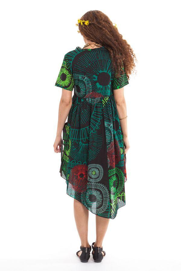Robe mi-longue Noire et Verte Originale et Asymétrique Camélia 307734