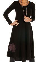 Robe mi-longue noire ethnique au détail brodé Bangui 313856