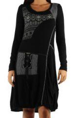 Robe mi-longue noire imprimé gris Titania 302643