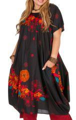Robe mi-longue noire originale femme grande taille Aline 306994
